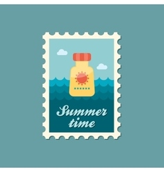 Sunscreen flat stamp summertime vector