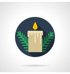 Beige xmas candle round flat icon vector
