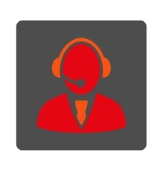 Call center worker rounded square button vector