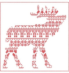 Reindeer body in scandinavian pattern vector
