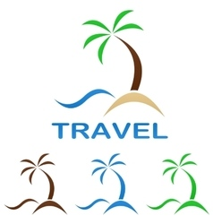 Travel logo design - beach palm tree sea vector