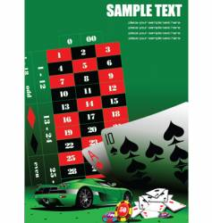 casino elements with sport car vector image