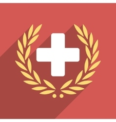Medical glory flat square icon with long shadow vector