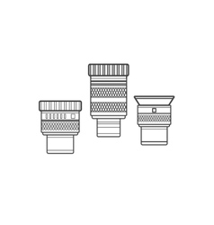 Outline telescope eyepieces collection vector