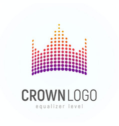 Abstract crown logo made of dots isolated vector