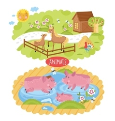 animals located on farm vector image