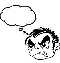 black and white angry boy head with thought bubble vector image vector image