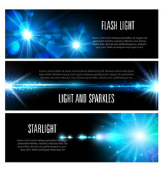 blue light effect banner set with star shine vector image vector image