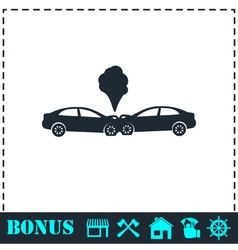 Car accident icon flat vector