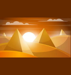 Desert landscape pyramid and sun vector