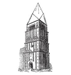 Earls barton church famous icon vintage engraving vector