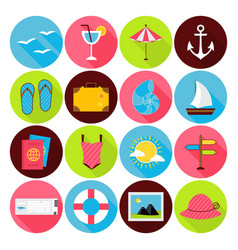 Flat Summer Icons Set vector image vector image