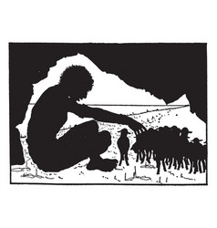 Giant sitting in cave with sheep vintage vector