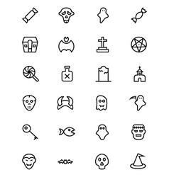 Halloween line icons 4 vector