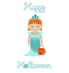 Happy halloween card with cute mermaid vector image vector image