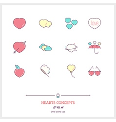 HEARTS CONCEPTS Line Icons Set vector image vector image