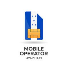 Honduras mobile operator sim card with flag vector