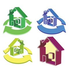 house recycle icons vector image vector image