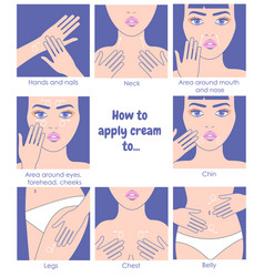 How to apply cream to the face neck hands belly vector
