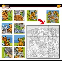 jigsaw puzzle activity with cats vector image vector image