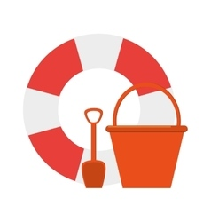Life preserver and bucket with shovel icon vector