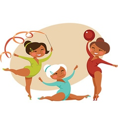 Little gymnasts vector image vector image
