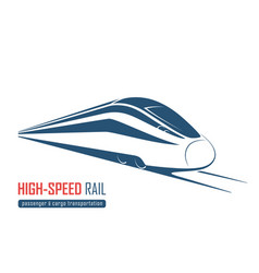 Modern high speed rail emblem icon label vector