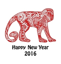 New year card with red hand-drawn monkey vector