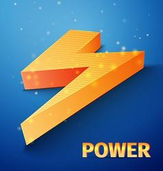 Orange flash symbol on blue background vector