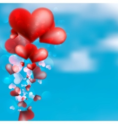 Red heart floating in the sky EPS10 vector image vector image