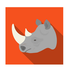 rhinoceros icon in flat style isolated on white vector image