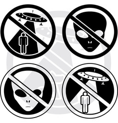 set of danger UFO signs vector image