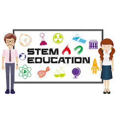 Teachers and stem education on board vector