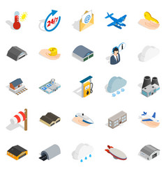 Voyage icons set isometric style vector