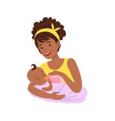 Young black mother breastfeeding her baby with vector