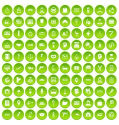 100 women health icons set green circle vector