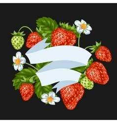 Background with red strawberries of vector