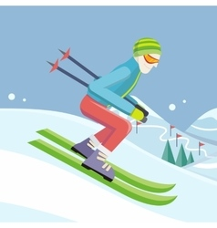 Skier on slope in flat design vector