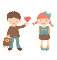 Kids in love vector