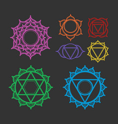 set of beautiful indian ornamental 7 chakra vector image