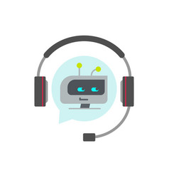 Chatbot support assistant icon flat vector