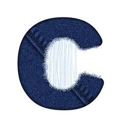 jeans letter c denim alphabet vector image
