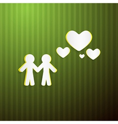 Paper people and hearts on green cardboard vector