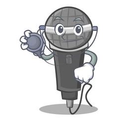 Doctor microphone cartoon character design vector
