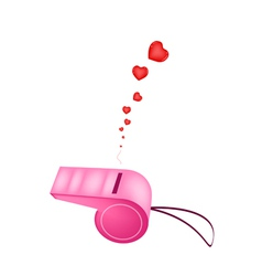 Pink whistle blowing hearts on white background vector