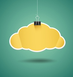 Yellow paper cloud shape origami with binder clip vector