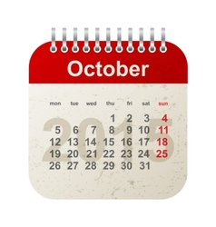 calendar 2015 - october vector image