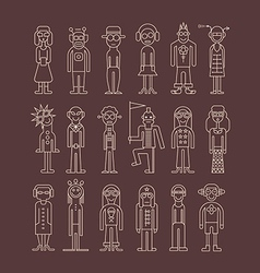 Outline people icons vector