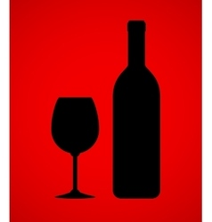 Wine bottle and glass on red background vector
