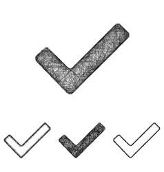 Checkmark icon set - sketch line art vector